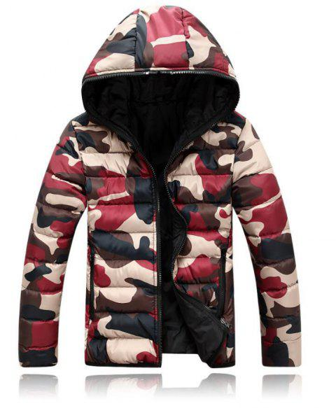 Hooded Camouflage Cotton Coat Parka Colorful Overcoat for Men - BLUE /AMP; YELLOW CAMOUFLAGE XXL