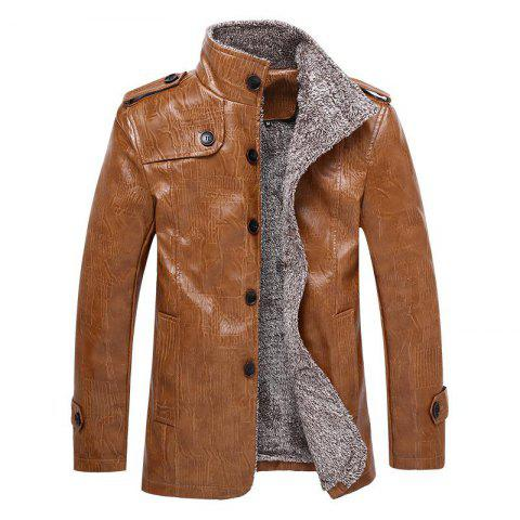 Furs Thickened Fur Jackets for Men - COFFEE XXL
