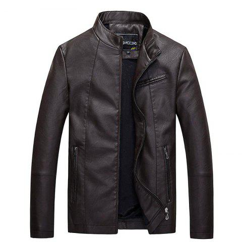 Men's leather jacket the main promotion of large yards of foreign trade all year round. - BROWN XXXL