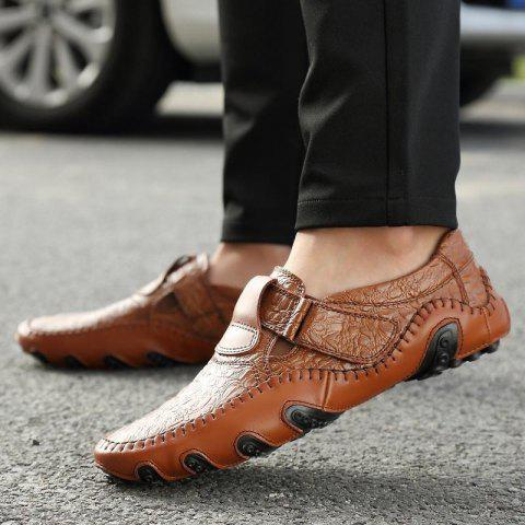 8dd39c237b6 Luxury Genuine Leather Flats Mens Loafers Casual Slip On Driving Shoes -  BROWN 9.5