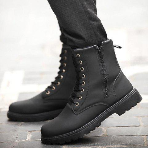 British Men Leather Boots Tooling High Shoes - BLACK 8