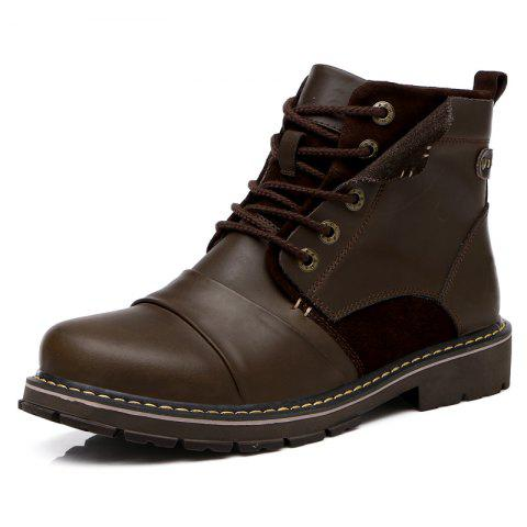 Mens Waterproof Casual Leather Ankle Boots - BROWN 8.5