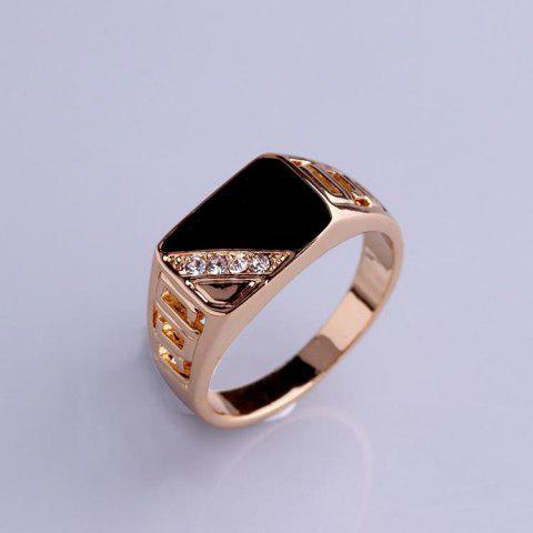 Fine Nice Triangle Crystal Men's Ring - GOLD 9