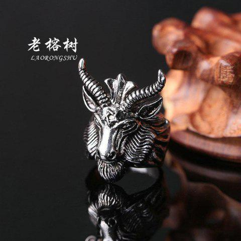 Black Goat Satan Sheep Head Five Mans Constellation Male Character Ring Creative Year Of Life Titanium Steel - AS SHOWN
