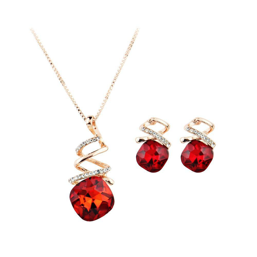 Cross Necklace Set Austria Water Drops Zircon Crystal Jewelry Set Spiral Necklace Earrings Set - RED
