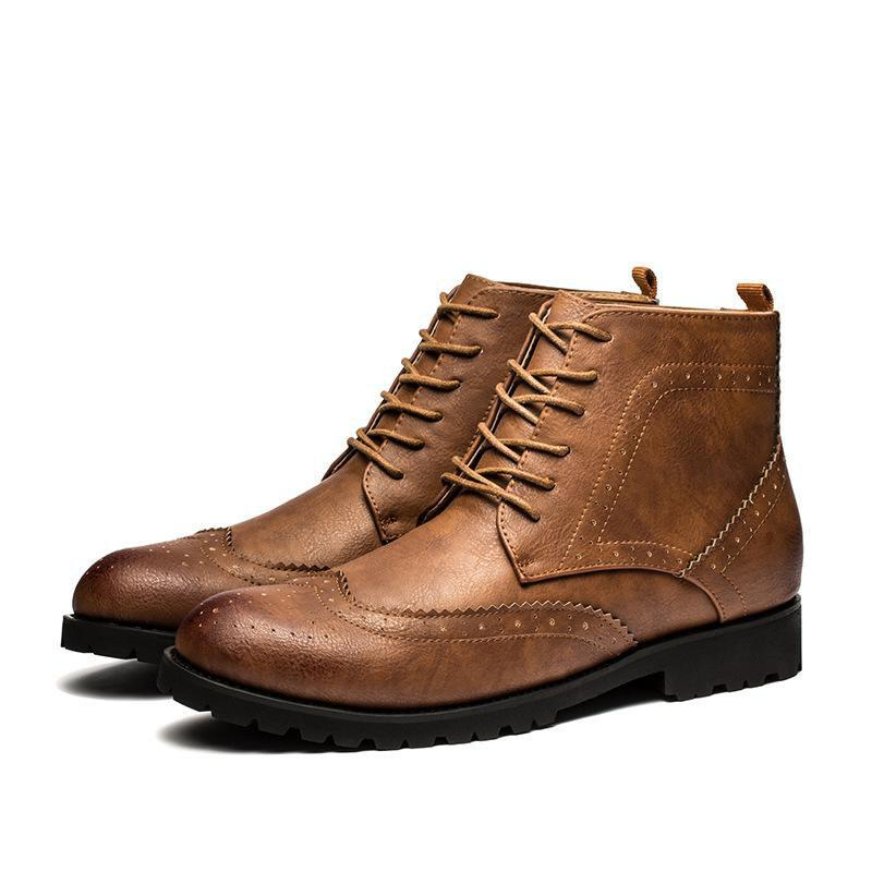 Men's Lace-up Oxford High Ankle Boots - YELLOW 8.5
