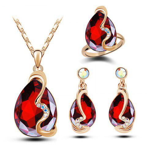 Fashion Crystal Water Drop Jewelry Set - ROSE RED