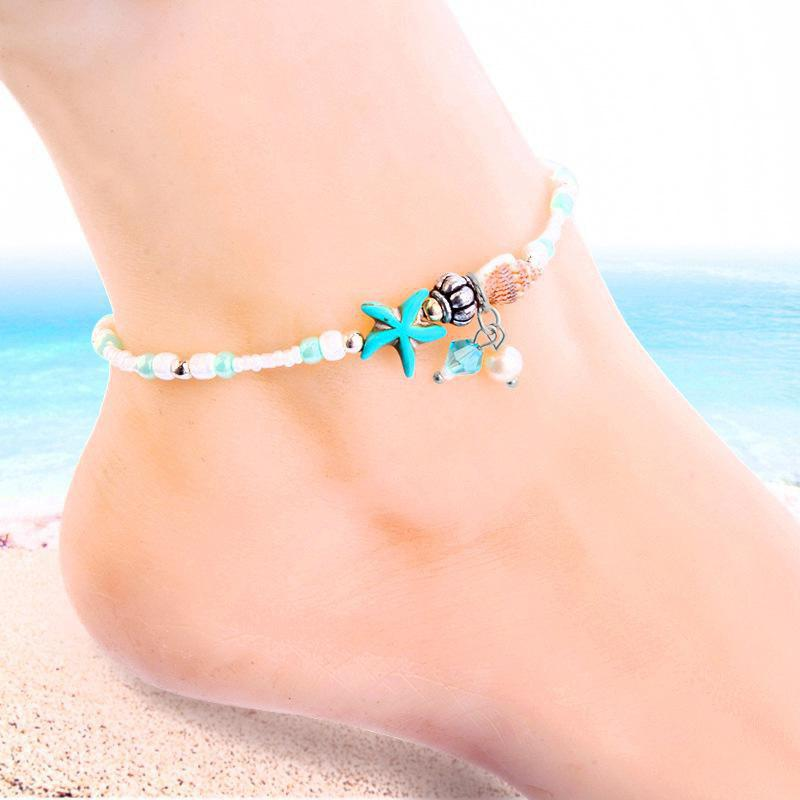 Starfish Shell Beach Beaches Anklets Sandals Beads Bracelet Accessories, Silver