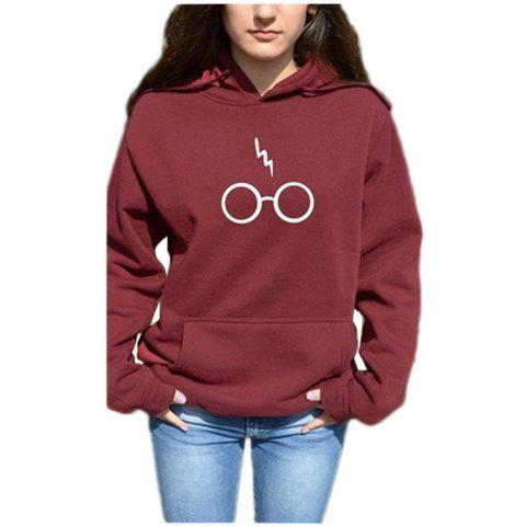 Harry Potter Glasses Lightning Loose Hooded Sweater - WINE RED M