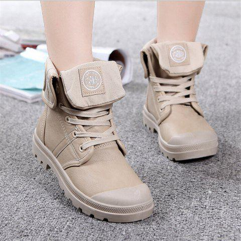 Covoyyar Fall Military Combat Lace Up Waterproof Pu Leather Martin Boots Shoes - KHAKI 6