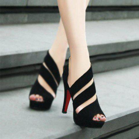 Hollowed Out High Heel Suede Rubber Toes Pumps Sandals for Women - BLACK 6
