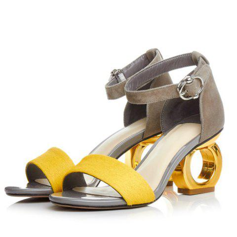 Special Design Heels Piscine Mouth Skin Shoes Sandals - YELLOW 9