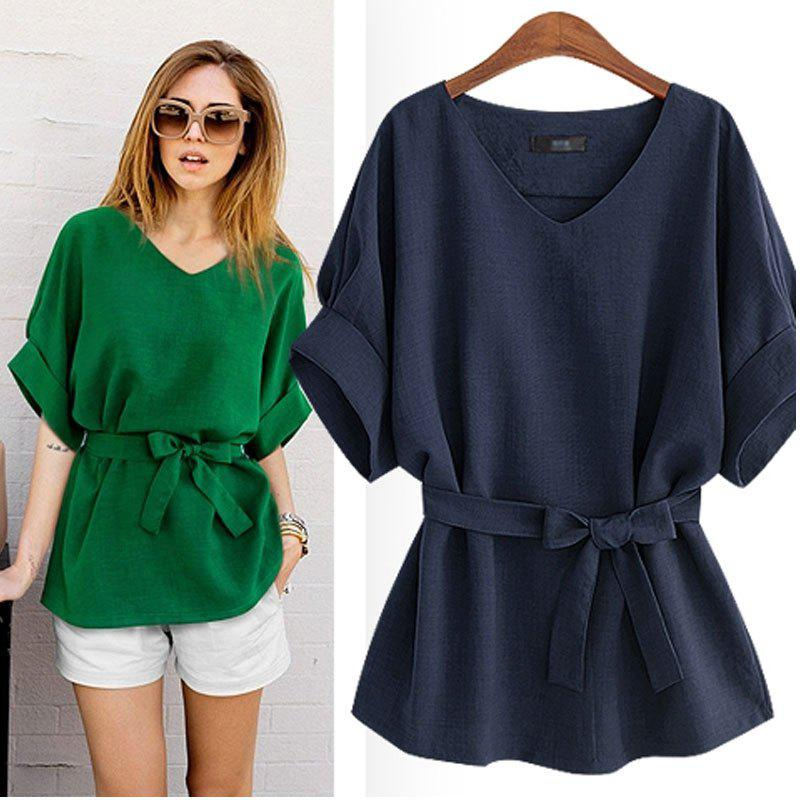 Elegant  V-neck T-Shirt Puff Sleeves Clothing Casual Charmed Camiseta - NAVY L