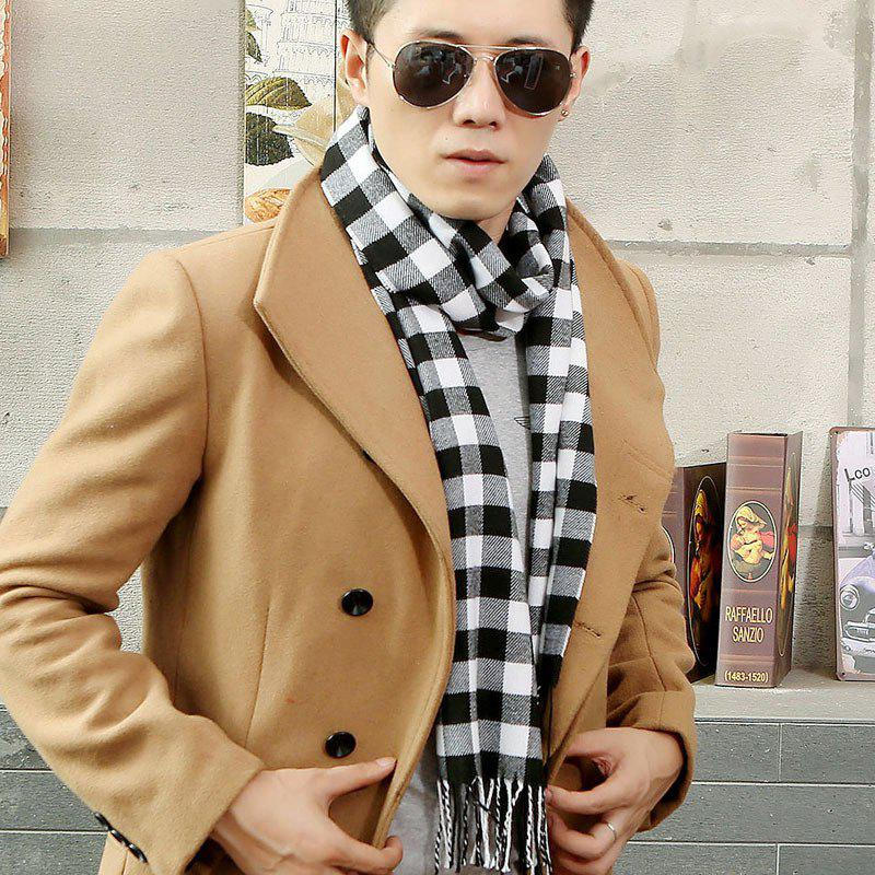 Autumn And Winter New Europe And The United States British Classic Black And White Small Plaid Scarf Imitation Cashmere Men's Men's Scarf