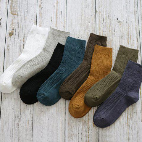 Socks Men's Autumn And Winter New Thick Double Needle Stripes Men's Cotton Tube Socks Deodorant Male Socks - PINSTRIPE WHITE