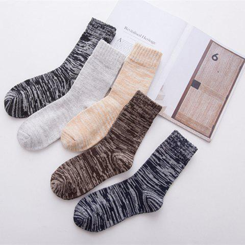 Autumn And Winter Explosions New National Wind And Line Rabbit Wool Men's Socks Men's Warm Socks Thick Line Solid Color Cotton Socks - KHAKI ONE SIZE