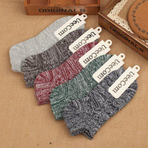 The New Explosion Models Yu Wenle With The Same Paragraph Double Needle Thick Line Men's Boat Socks Cotton Socks Socks - GREEN ONE SIZE