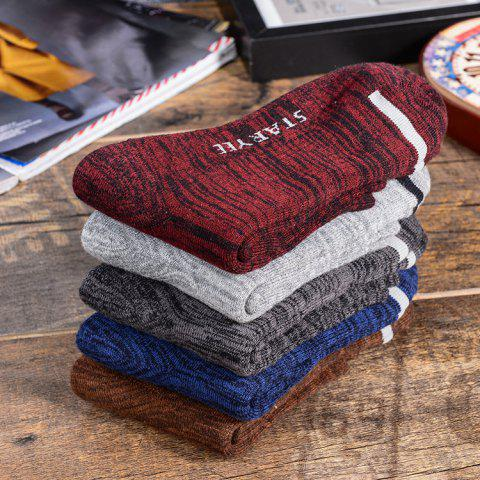 Retro Men's Towel In Tube Socks Cotton Breathable Sweat-absorbent Color Matching High-end Business Casual Men's Socks Source - JUJUBE ONE SIZE