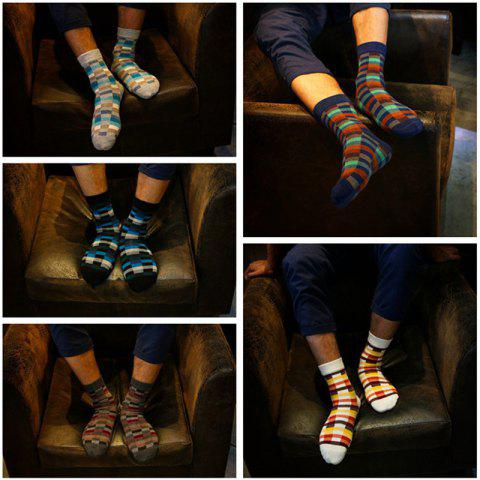 Cross Into The Autumn And Winter New Tide Men's Plaid Cotton Tube Socks Fashion Personality Cotton Men's Socks - WHITE ONE SIZE