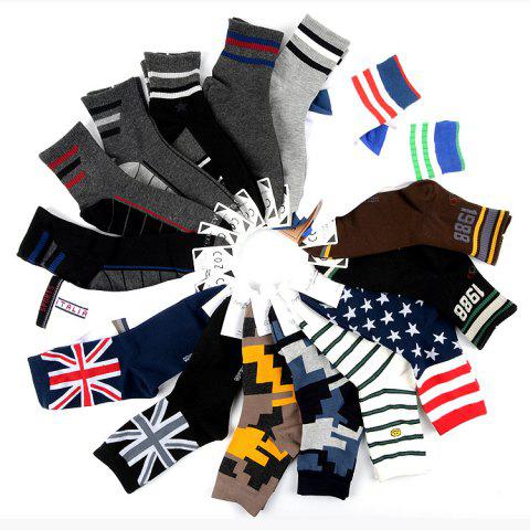 Men's Socks 4 Yuan Cotton Deodorant Sweat In The Tube Color Strip Lattice Men's Sports And Leisure Korea - 7 40-46