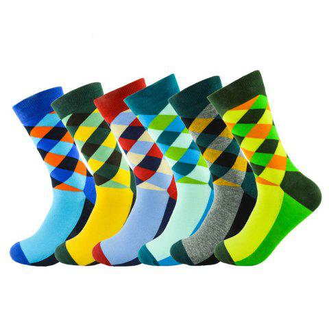 Europe And The United States Version Of The Large Size 6 Color Men's Diamond Lattice Personality Fashion Sports Tube Men's Socks - RANDOM SAMPLE MIXING