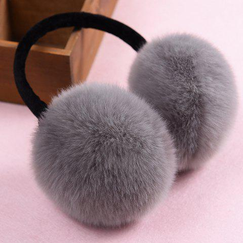 Autumn And Winter Fur Earmuffs Rabbit Fur Earmuffs Adjustable Warm Ear Bag Cute Earmuffs - DARK GRAY BLACK SHELF