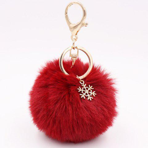 New Christmas Snowflake Plush Keychain Alloy Snowflake Christmas Hair Ball Pendant Bag Keychain - WATERMELON RED SNOWBALL BALL (GOLDEN 8-BUTTON)