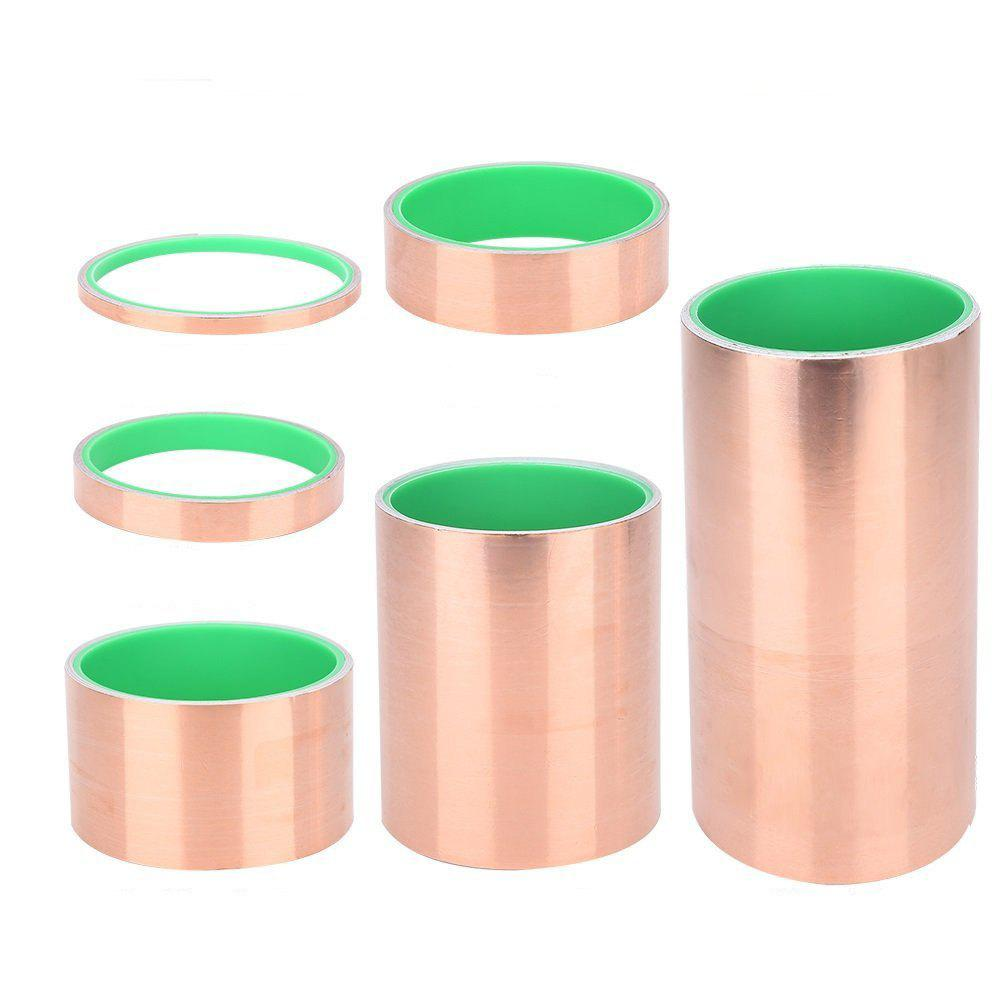 Double Guide Copper Foil Tape Guitar Copper Foil Transformer Conductive Shielding Copper Foil Tape Pure Copper Foil Musical Instrument Accessories - 2.5CM 50M
