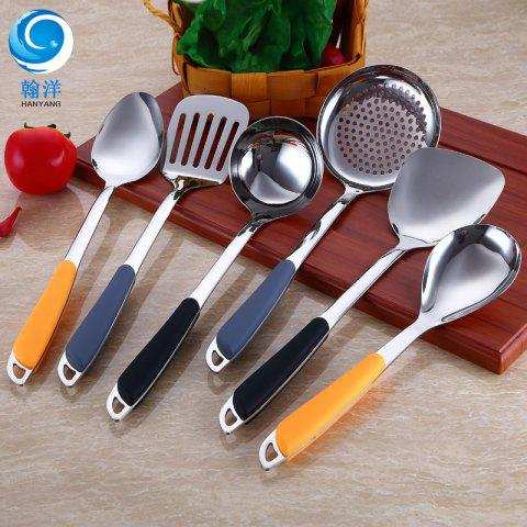 Stainless Steel Spatula Cooking Spoon Shovel Kitchen Seven-piece Soup Spoon Set Gift - SOUP SPOON