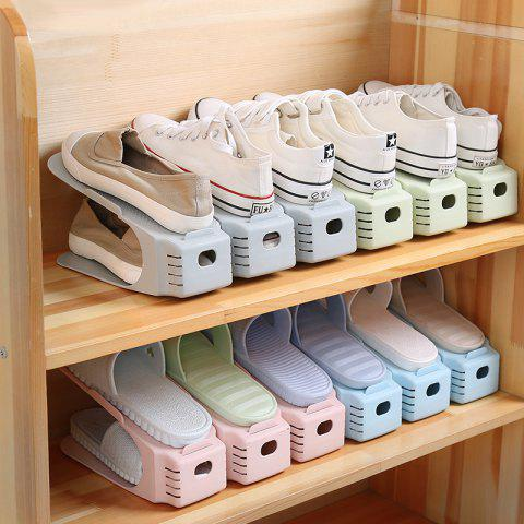 One-piece Shoe Rack Creative Double Thickening Space Plastic Shoe Storage Rack Shoe Cabinet Finishing - PLAIN POWDER (NOT ADJUSTABLE)