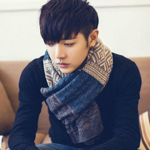 Autumn / Winter Korean Version Thickening Wool Color Tide Warm Wild Bib Female Men's Scarf - RED/BLACK (MALE MODEL SHOW) 190*35