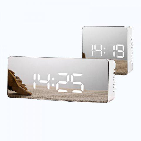 Horloge LED multifonctions créative Batterie Plug-in Alarme miroir double usage - RECTANGULAR BLUE LIGHT