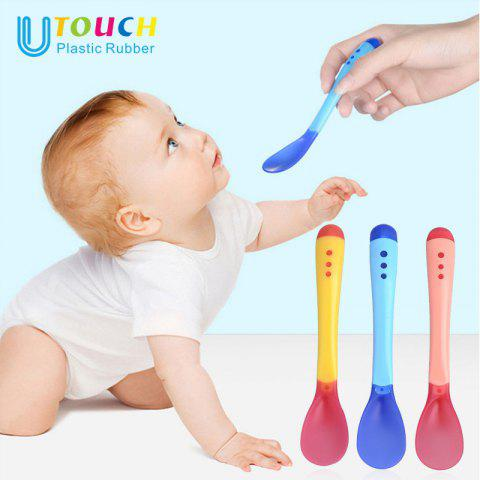 Temperature Sensitive Color Spoon Newborn Creative Soft Head Feeding Water Eating Anti-scalding Soup Spoon Fork - RED/WHITE FORK