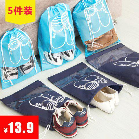 Shoes Shoes Dustproof Moisture-proof Transparent Storage Travel Household Beam Mouth Drawstring Simple Non-woven Bag Shoe Cover - DARK BLUE MEDIUM 15