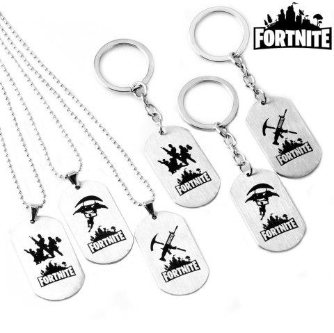 Game Fortress Night Fortnite Stainless Steel Tag Necklace Keychain - A KEYCHAIN (DM3054K) 5CM*2.8CM