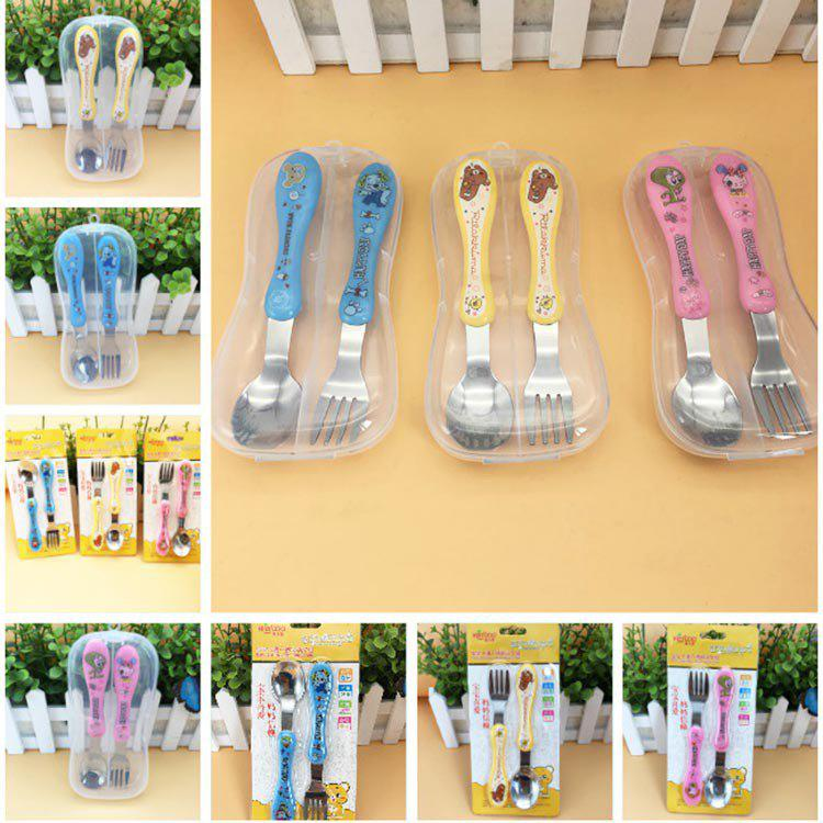 DA101 Korean Version Of The Cartoon Children's Fork Spoon Combination Baby Infant Baby Training Gift Cutlery Set фото