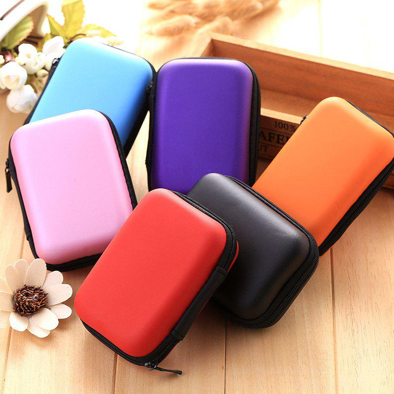 Square Headphone Storage Bag Mobile Phone Data Cable Charger Storage Box Headset Bag Solid Color Coin Purse - PURPLE