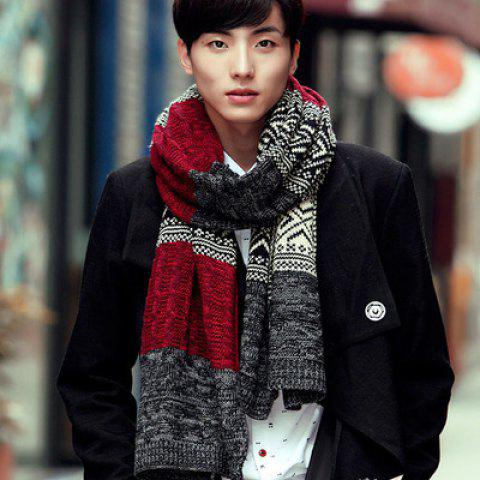 Men's Wool Scarf Autumn And Winter Thick Warm Knitted Knit Color Matching - RED 45*190
