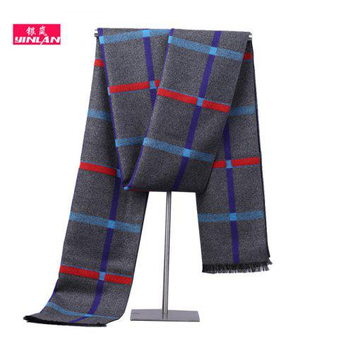 New Men's Scarf Autumn And Winter Students Warm Striped Scarf Men's Tide Korean Version Of The Collar Imitation Cashmere Scarf - NAVY