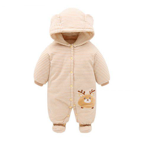 Hood Foot Cover Long Sleeves Romper Baby Cotton Jumpsuit - PEACH 73CM