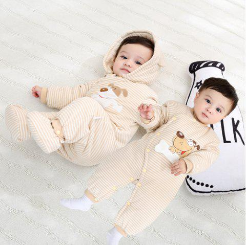 Hood Foot Cover Long Sleeves Romper Baby Cotton Jumpsuit - NAUGHTY BEAR SPRING/AUTUMN THIN QUILTED ORDINARY 73CM