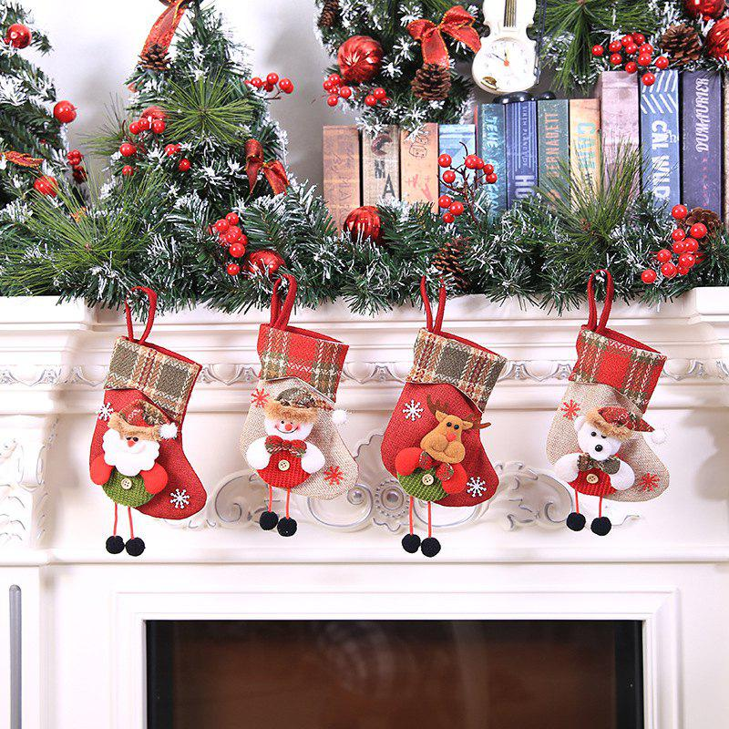 Christmas Decorations Christmas Stockings Pendant Christmas Stockings Gift Bag Hanging Gift Bag Socks Hanging Ornaments - SMALL LATTICE SIDE OLD MAN