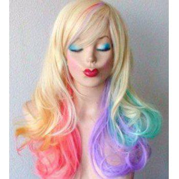 Fluffy Wavy Synthetic Colorful Ombre Fashion Long Side Bang Wig For Women