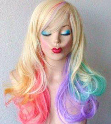 Fluffy Wavy Synthetic Colorful Ombre Fashion Long Side Bang Wig For Women - COLORMIX