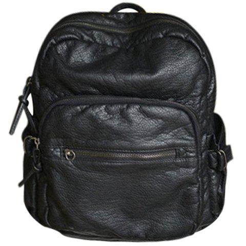 College Style Solid Colour and Zip Design Backpack - BLACK