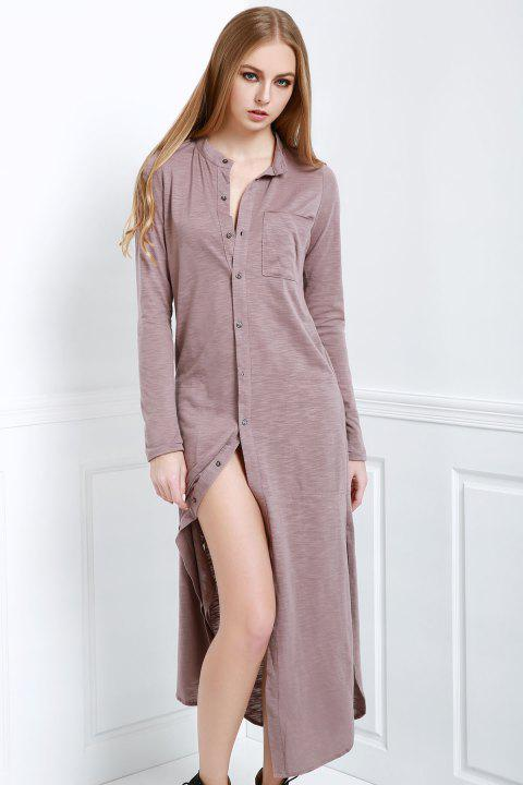 Stylish Stand Neck Long Sleeve Solid Color Women's Maxi Cardigan - SHALLOW PINK S