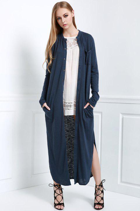 Stylish Stand Neck Long Sleeve Solid Color Women's Maxi Cardigan - BLUE S
