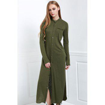 Stylish Stand Neck Long Sleeve Solid Color Women's Maxi Cardigan - OLIVE GREEN S