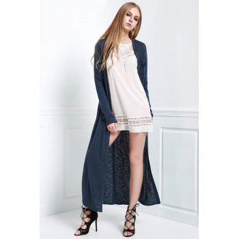 Stylish Stand Neck Long Sleeve Solid Color Women's Maxi Cardigan - BLUE M