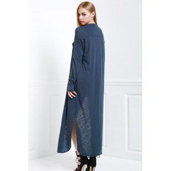 Stylish Stand Neck Long Sleeve Solid Color Women's Maxi Cardigan - BLUE L